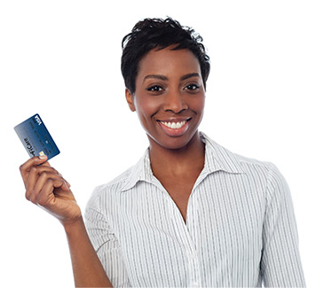 Woman with FiCare debit card